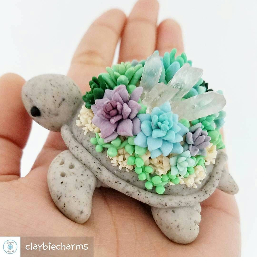 Polymer Clay Turtle covered in Succulents