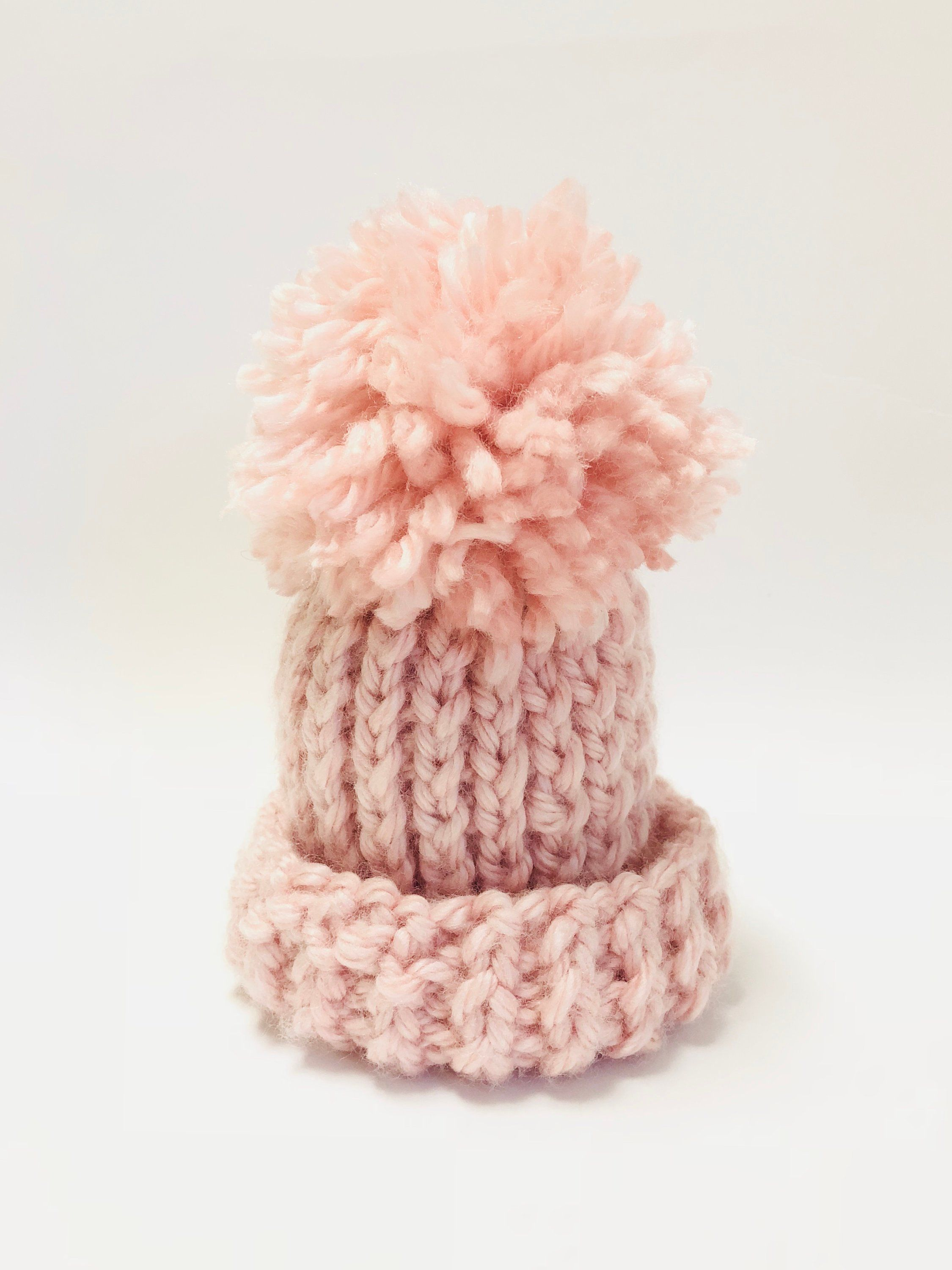 dd551c136ed Handmade Pink Super Thick Chunky Vegan Knitted Newborn Infant Child Hat  With Pom Pom Custom Unisex by TotallyStitchedShop on Etsy