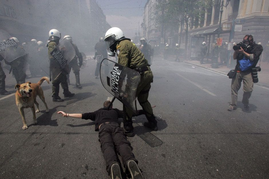FREEDOM OF THE PRESS: THE ATTACK ON THE LEADER OF THE GREEK PHOTOJOURNALIST UNION MARIOS LOLOS, ATHENS, GREECE