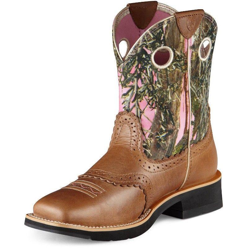 Ariat ladies cork brown pink camo fatbaby boots cowboy
