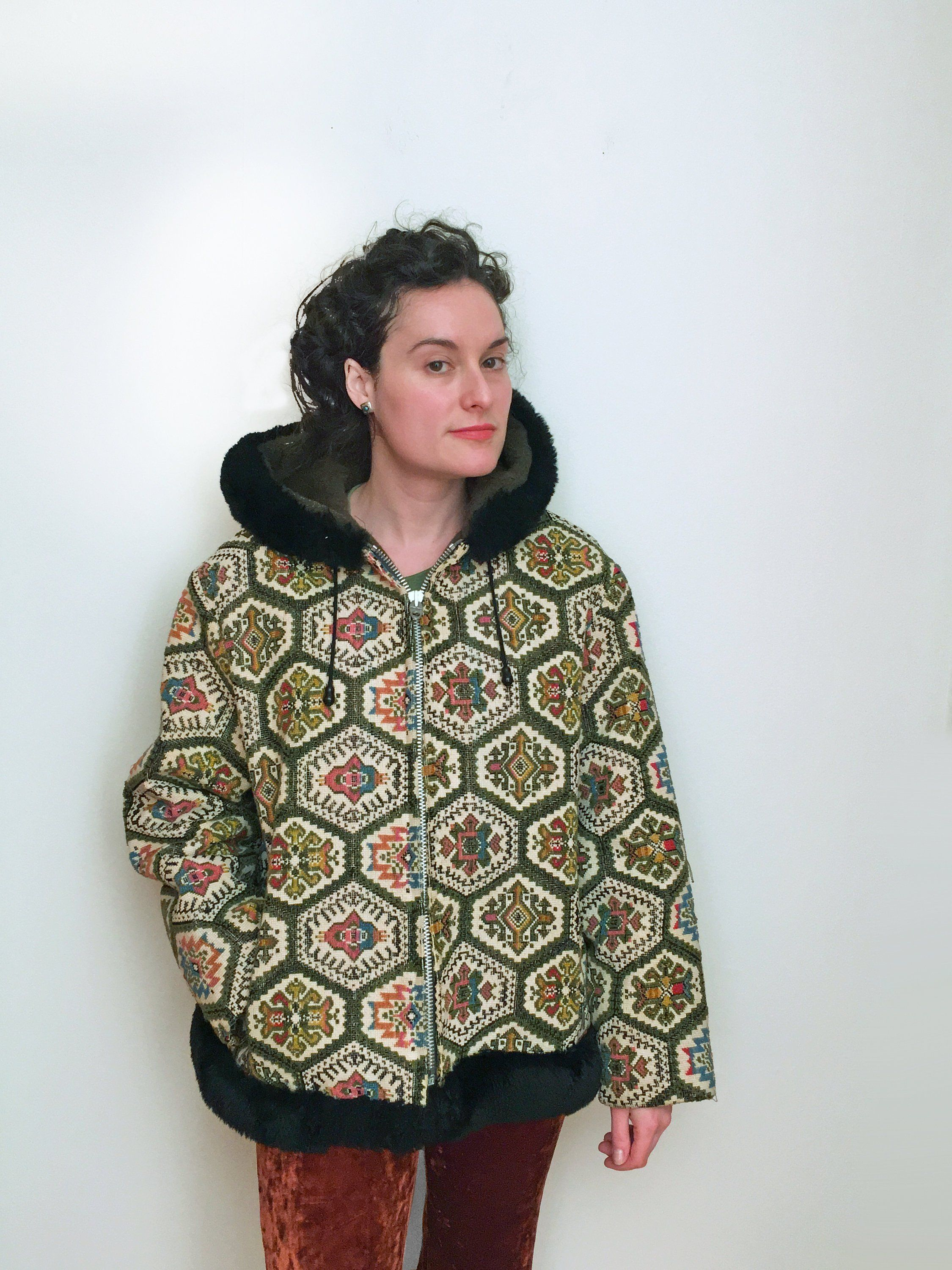 70s Tapestry Carpet Jacket In Rainbow Chenille With Hood Etsy Tribal Coats Parka Style Chenille