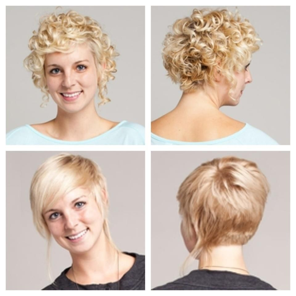 Short curly hair stacked in back longer in front long pieces on