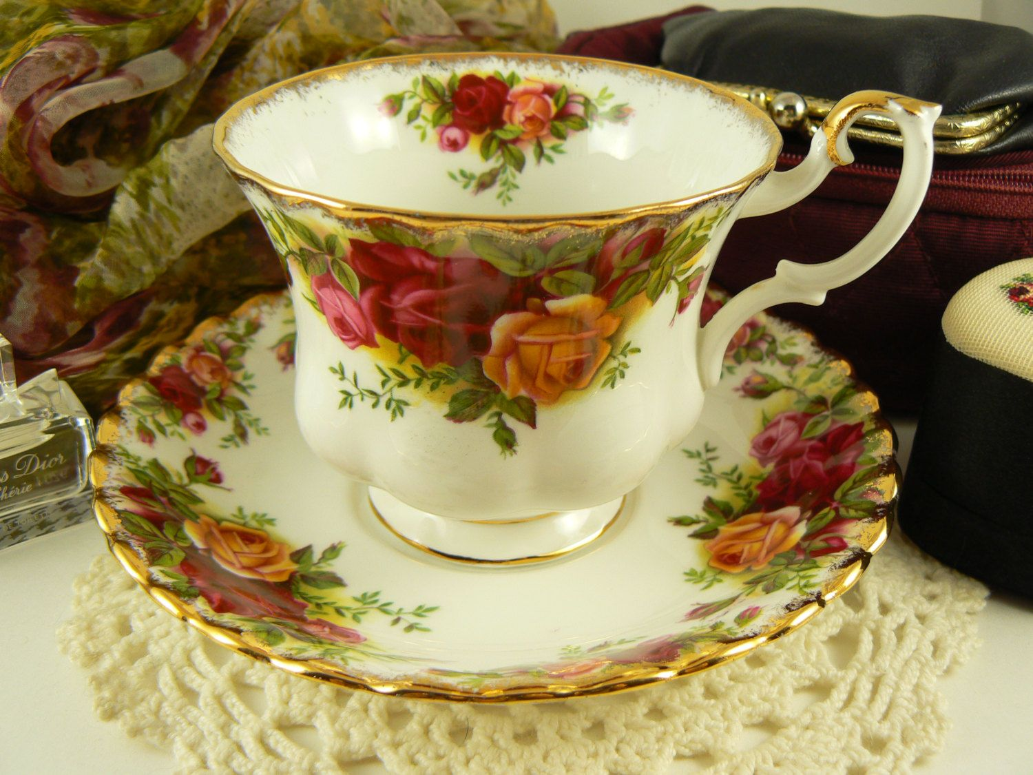 Vintage Royal Albert Old Country Roses Teacup and Saucer Bone China England by BlueTortoiseVintage for $34.95 Cdn on Etsy