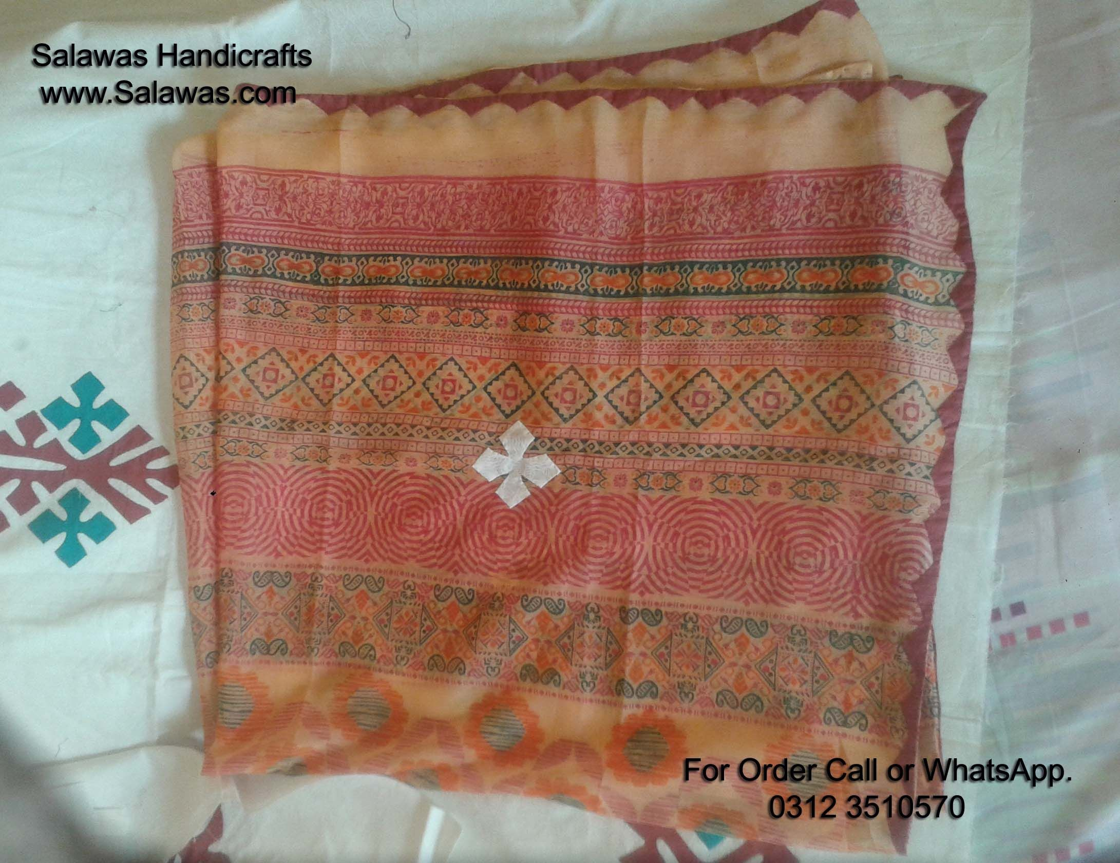 This applique work dupatta are made by hand embroidery. aplic work