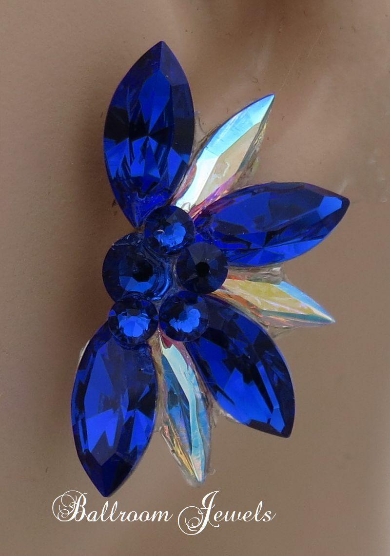 Photo of Swarovski Crystal Half Star Ballroom Earrings – Majestic blue