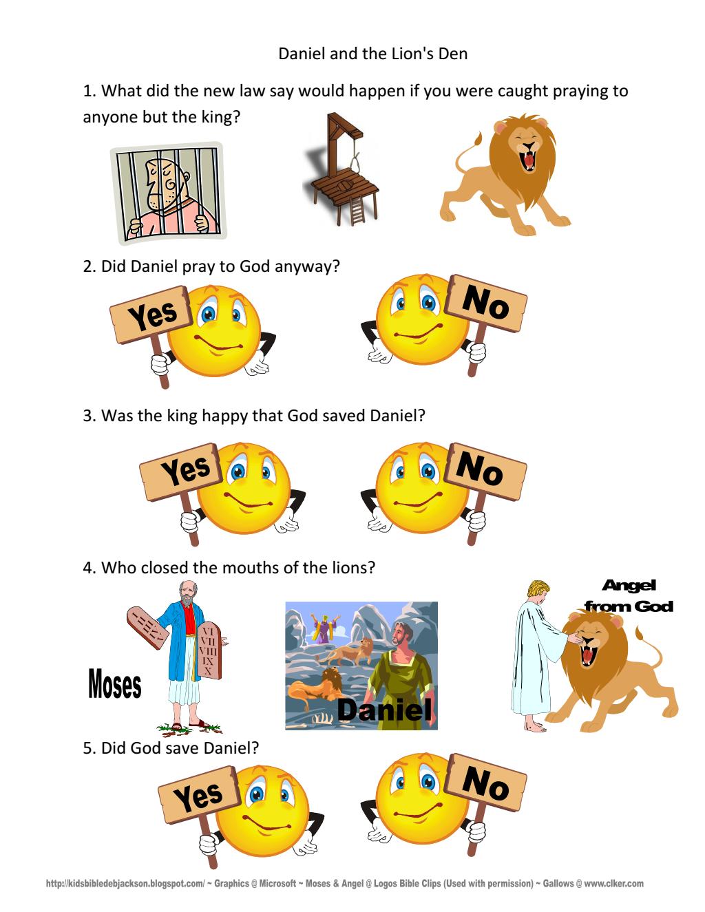 11 Daniel Amp Lion S Den Worksheet