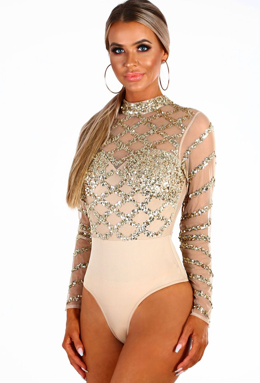 PREMIUM Diamonds Are Forever Nude Mesh Gold Sequin Embellished Bodysuit  ced48b11d