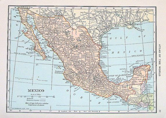 old map mexico central america small 2 sided by mysunshinevintage 1000 purchased