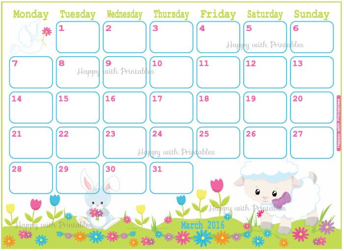Calendar March 2016 Printable - Spring Planner - Easter Calendar - sample cute calendar template