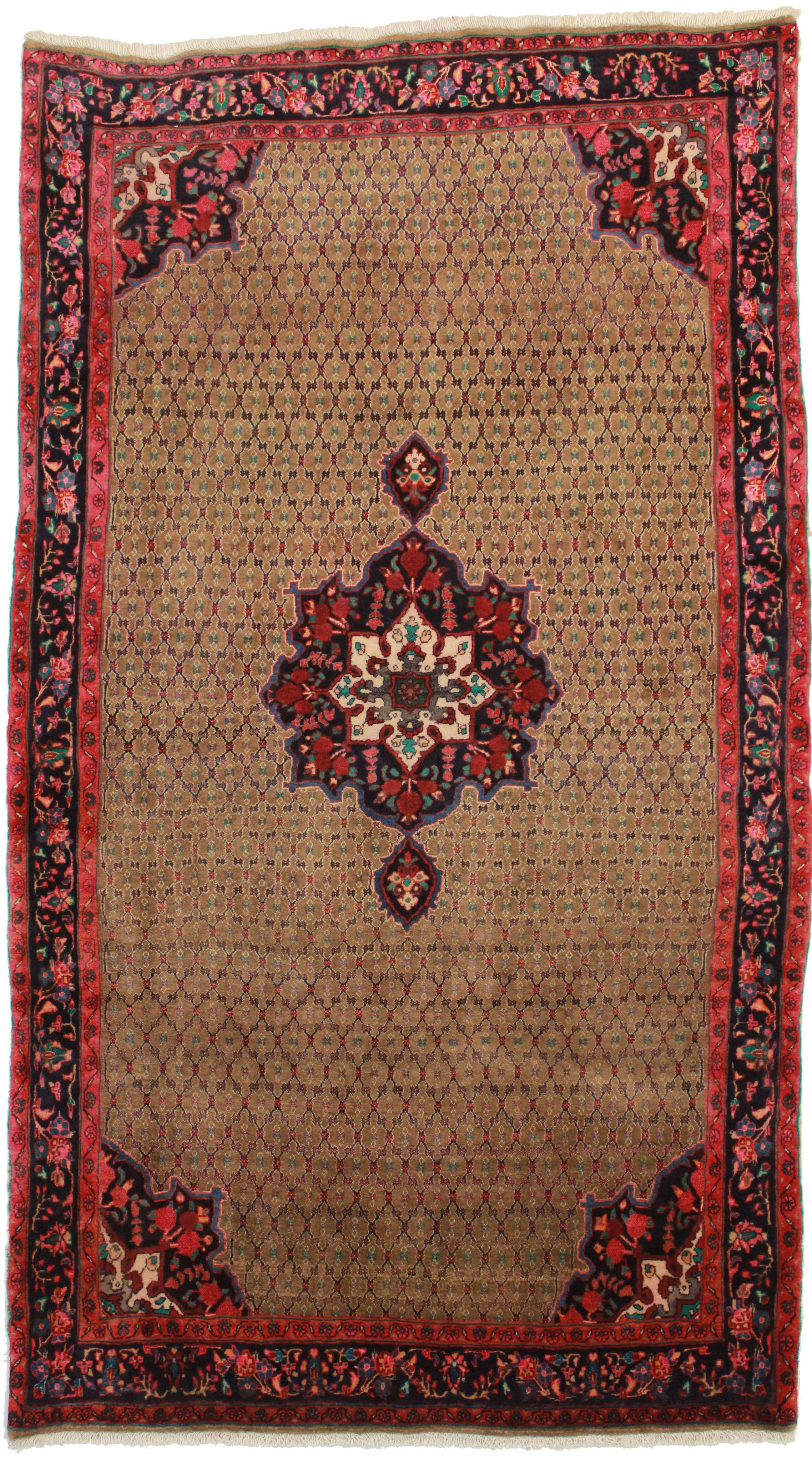5' X 9' Hand Knotted Wool Persian Bijar Rug