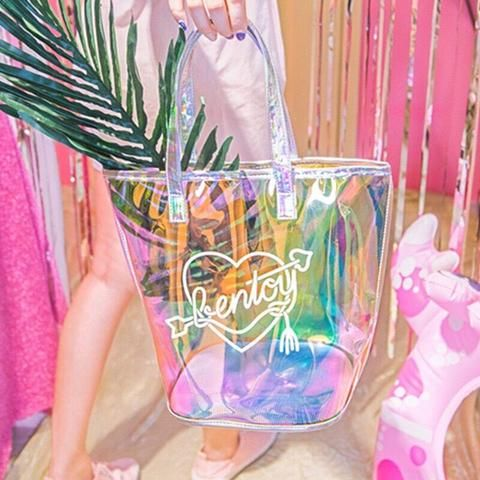 Waterproof Beach Bag Transparent Handbag Summer Large Capacity Tote for Travel