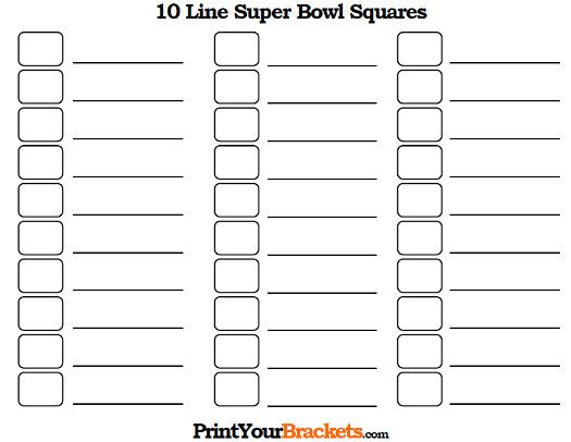Printable 10 Line Super Bowl Squares - 10 Box Pool Super Bowl - football pool template