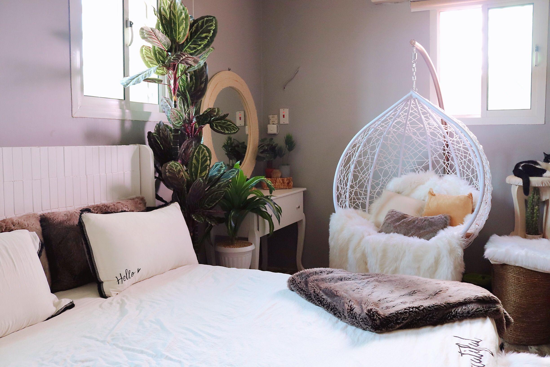 جولة في غرفتي بالتفصيل شتاء اليوتيوبرز Room Tour Aesthetics 2019 Youtube Hanging Chair Furniture Home Decor