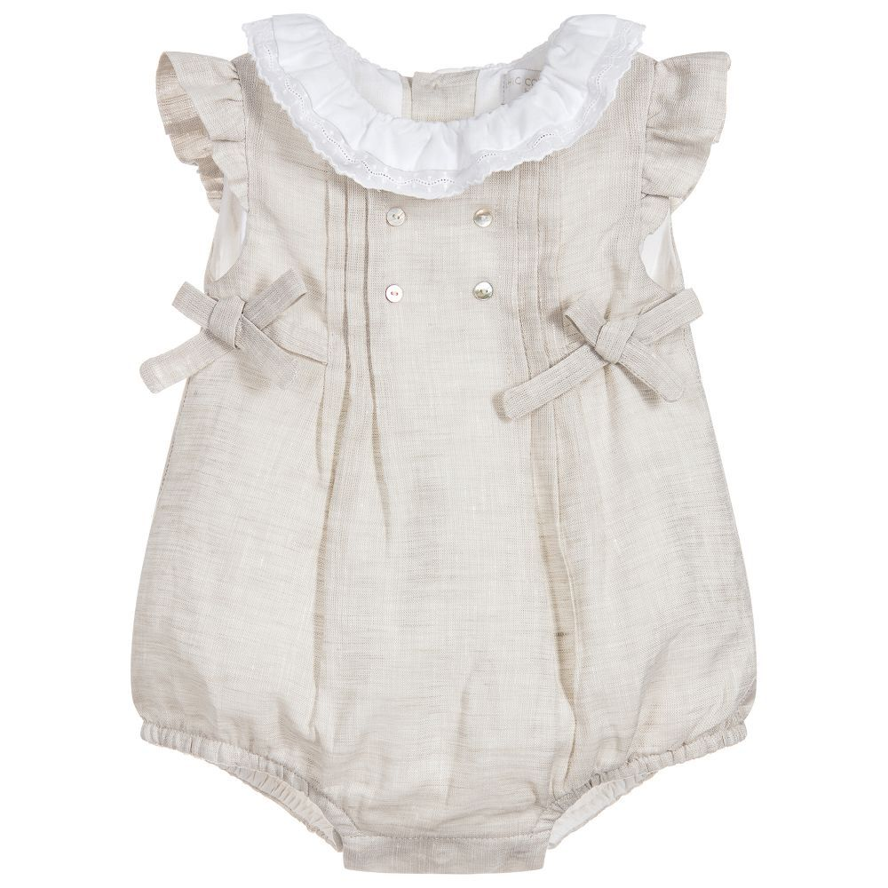 5f771b1add7d Baby Girls Beige Linen Shortie for Girl by Chic by Laranjinha ...