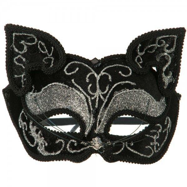 Ladies Black Velour Jewelled Venetian Masquerade Party Carnival Eye Ball Mask