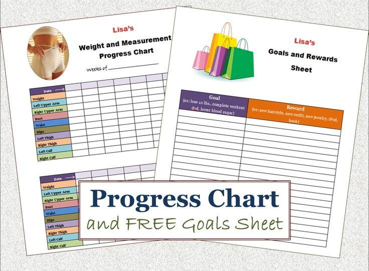 PRINTABLE Weight Loss Progress Chart, FREE Goals and Rewards Sheet