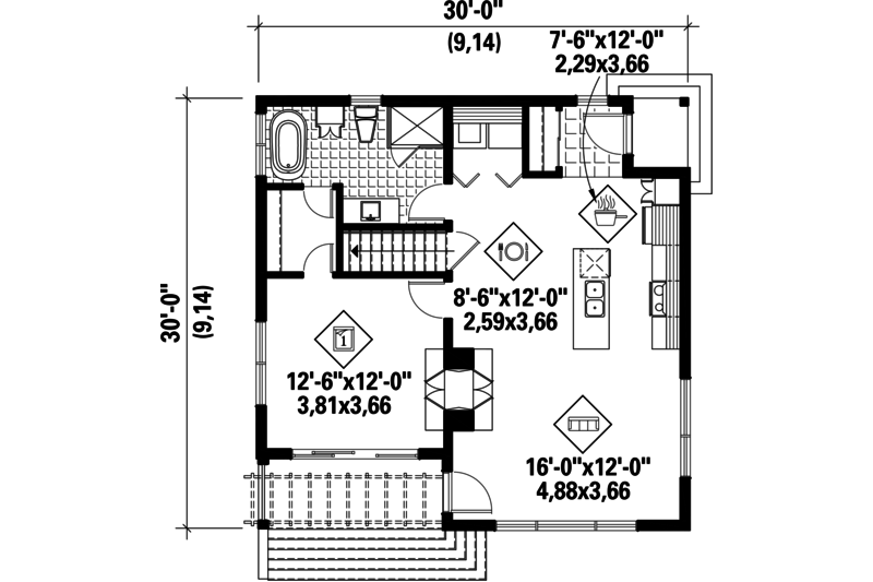 Contemporary Style House Plan 1 Beds 1 Baths 815 Sq Ft Plan 25 4578 Small Floor Plans Log Home Floor Plans How To Plan
