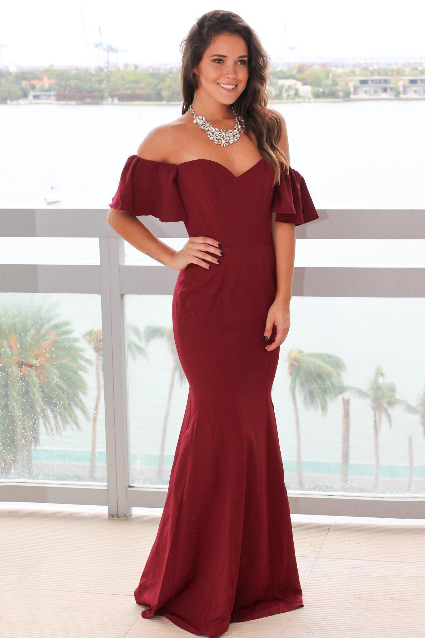 590c8279c40 Burgundy Off Shoulder Maxi Dress with Ruffles in 2019 | Products ...