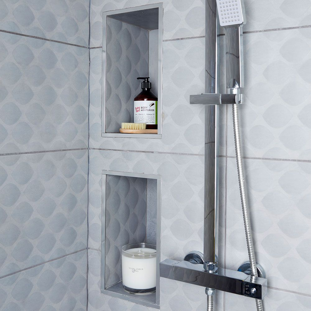 Before And After Ditching The Bath Made Way For A Luxurious Shower Recessed Shelves Shower Recess Bathtub Shelf