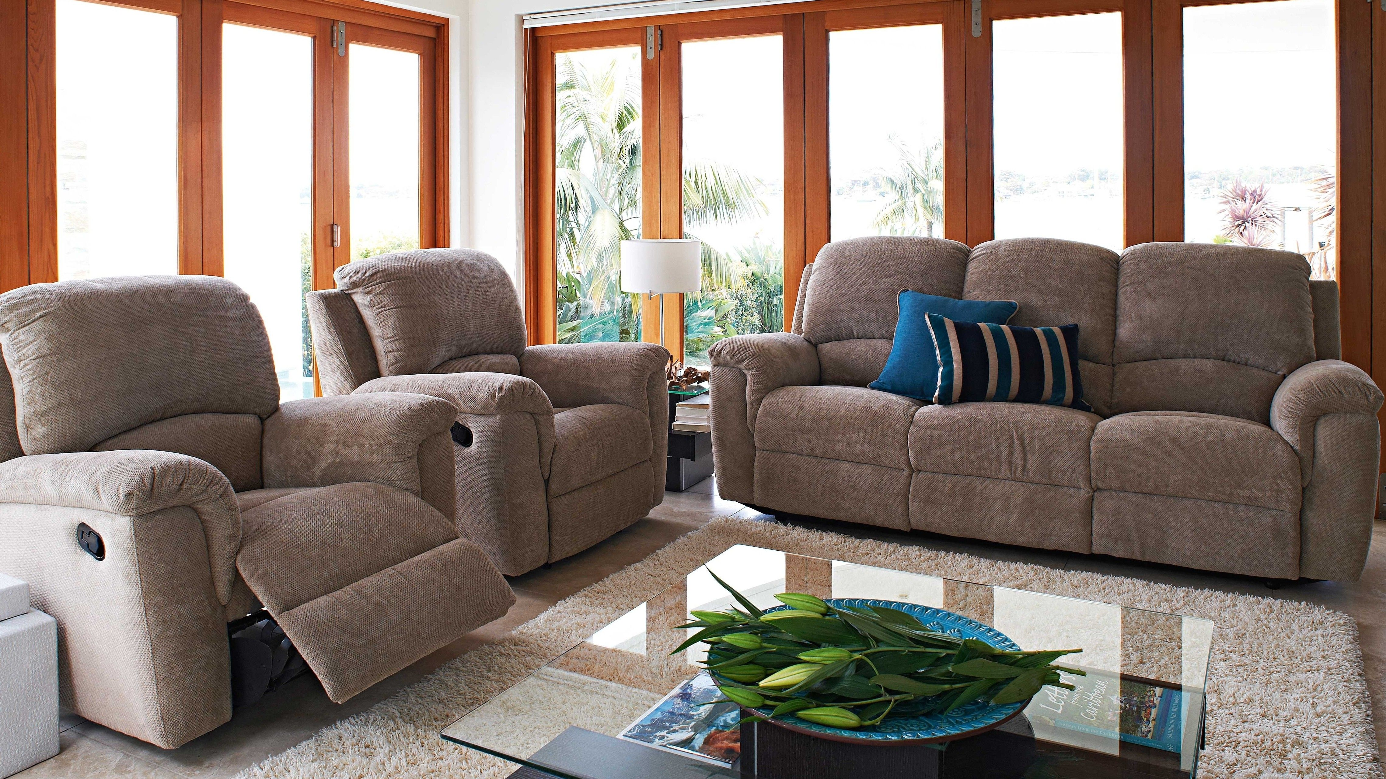 Shelley 3 Piece Fabric Lounge Recliner Suite Room