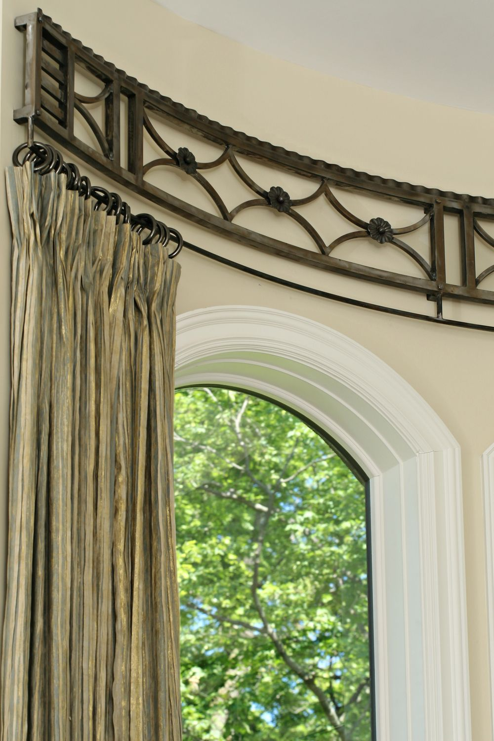 Curved Curtain Rod Window Detail Curtains For Arched Windows