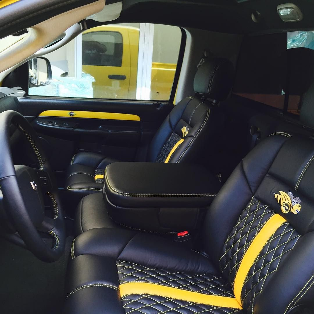 dodge ram yellow and black interior seats diamond stitch auto addiction interiors pinterest. Black Bedroom Furniture Sets. Home Design Ideas