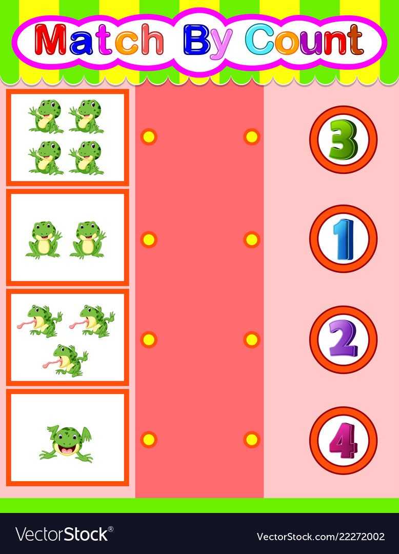 Count and match frog cartoon math educational game vector
