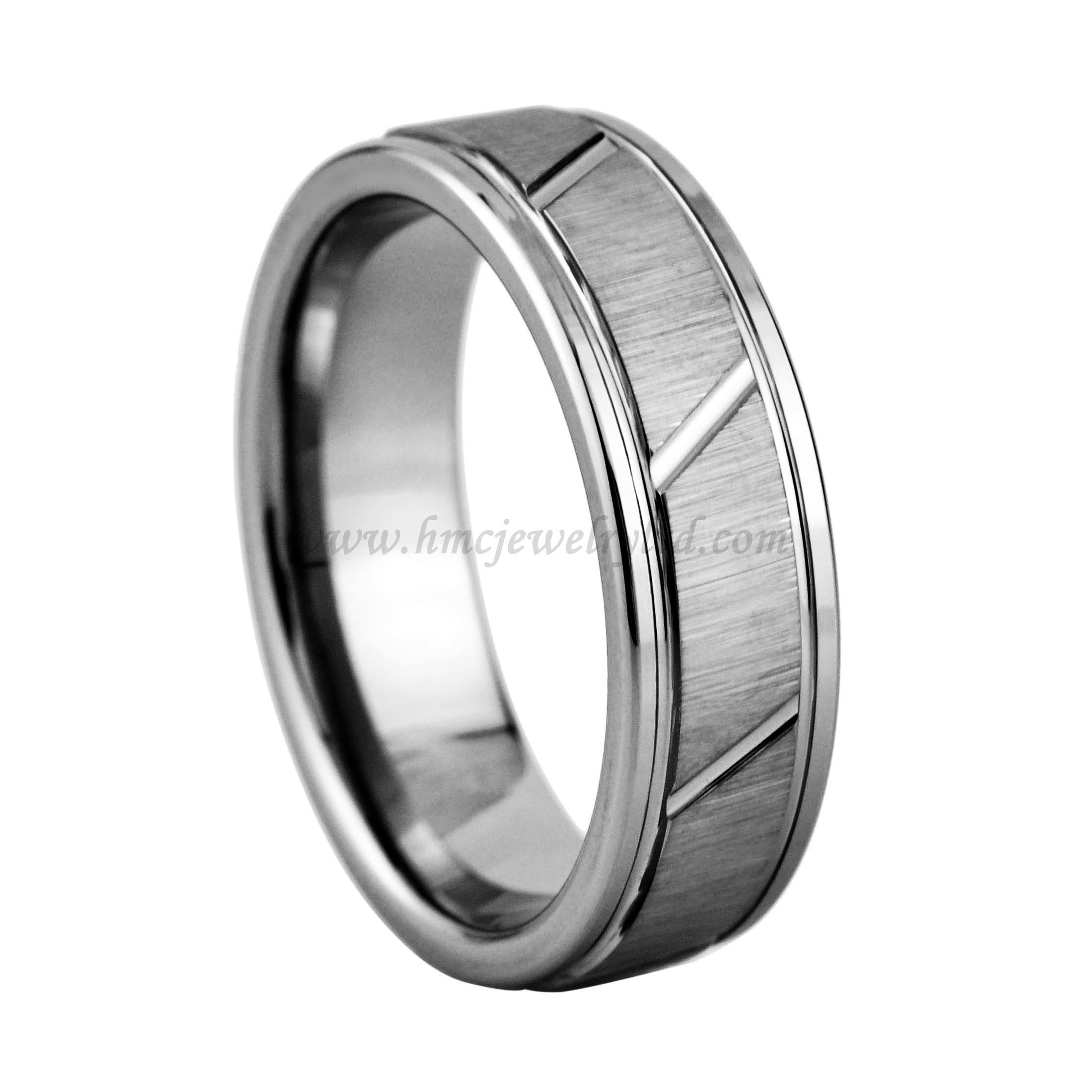 pin ring mens wedding gold rings surface brush dome tone two rose carbide matte tungsten band