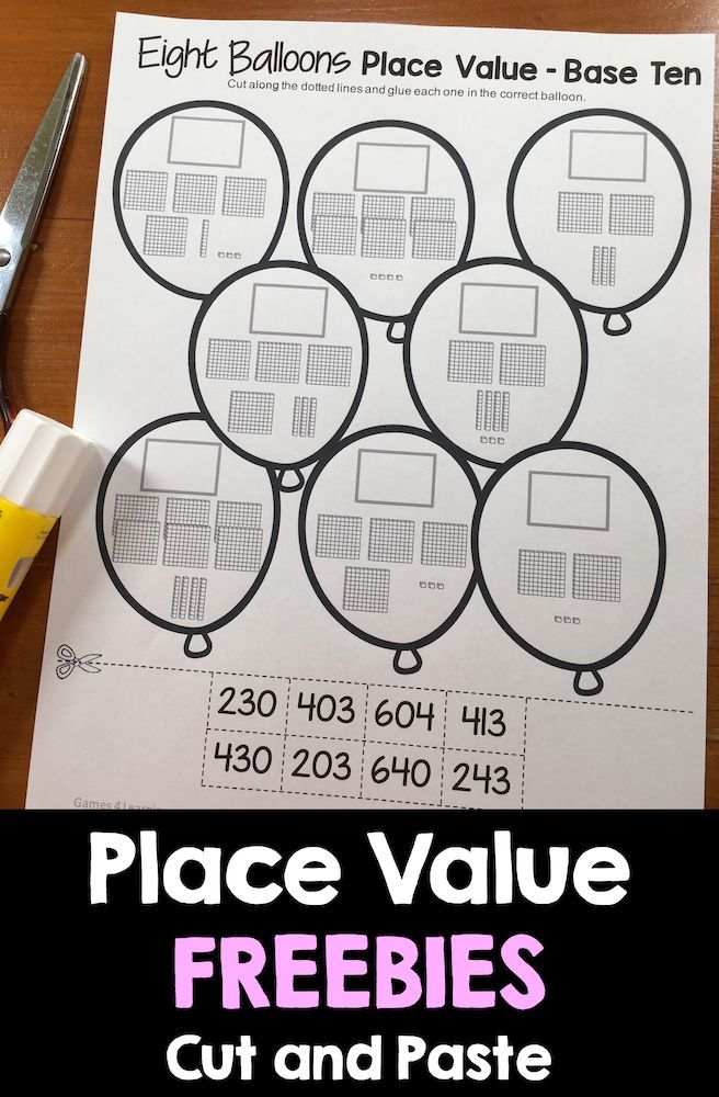 Place Value cut and paste for 3 digit numbers with hundreds, tens ...