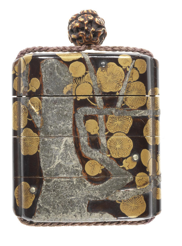 A black lacquer Rimpa style three-case inro 17th century Bearing a roiro ground, lacquered and inlaid with a flowering plum tree, in gold takamakie and inlaid pewter with drops of rain inlaid in silver, the interior of matt gold lacquer, signed inside the cover Hokyo Korin; with ivory ojime, carved with reishi fungus, signed Masayasu