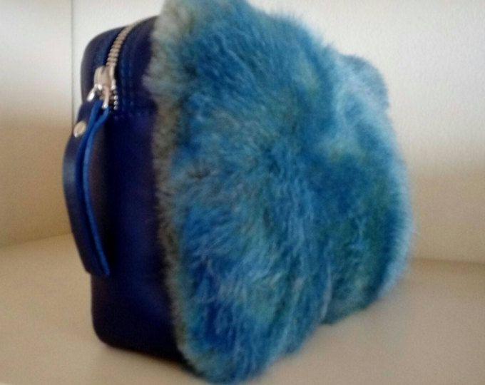 Lapin Pelliccia E Pelle In Azzurra Pelliccia Borsa wHA6B6