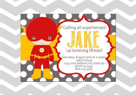Flash Super Cumpleaños Digital Tarjeta De La Invitación En