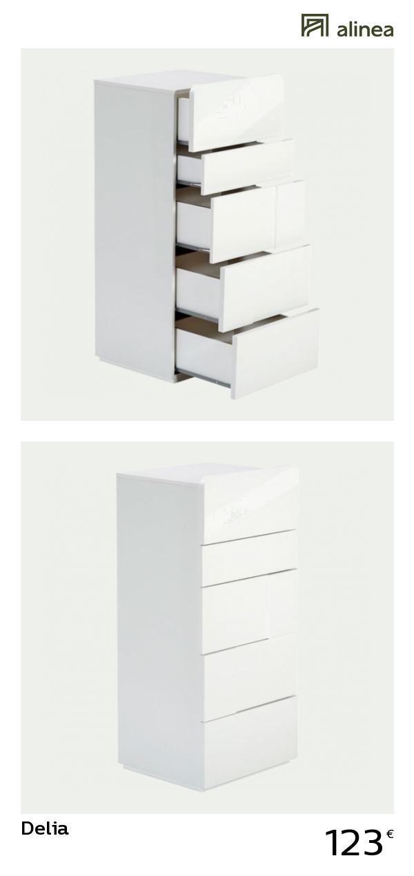 alinea : delia chiffonnier 5 tiroirs blanc laqué meubles ...