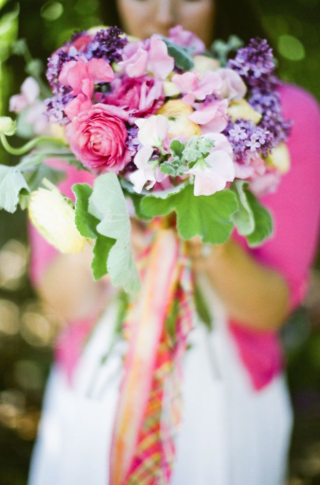Very Pretty Wedding Bouquet Purple Lilac Pink Sweet Peas Ranunculus Yellow Green Geranium Leaves Hand Tied With Color