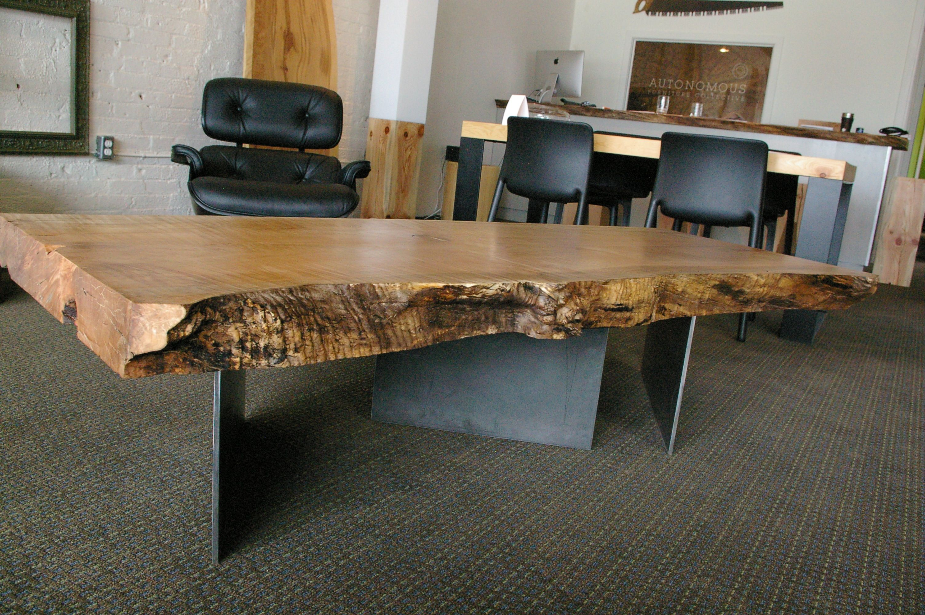 Rested Table Western Maple Slab From Vancouver Island Bc Canada Set On Steel Plate Legs Designed And Made By Kirk Van Ludwig Coffee Table Table Furniture [ 2000 x 3008 Pixel ]