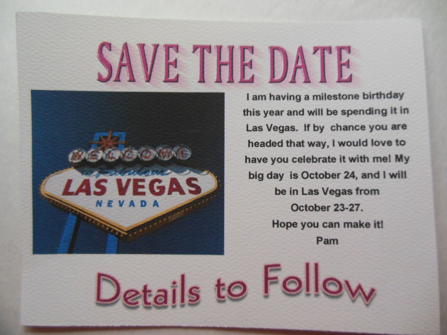 Save the Date Postcards Las Vegas Birthday Party by FlipFlopCards
