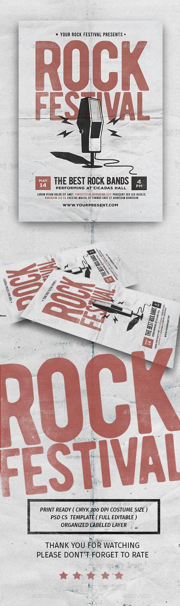 Rock Festival Flyer   Asas, Banda y Tipografía