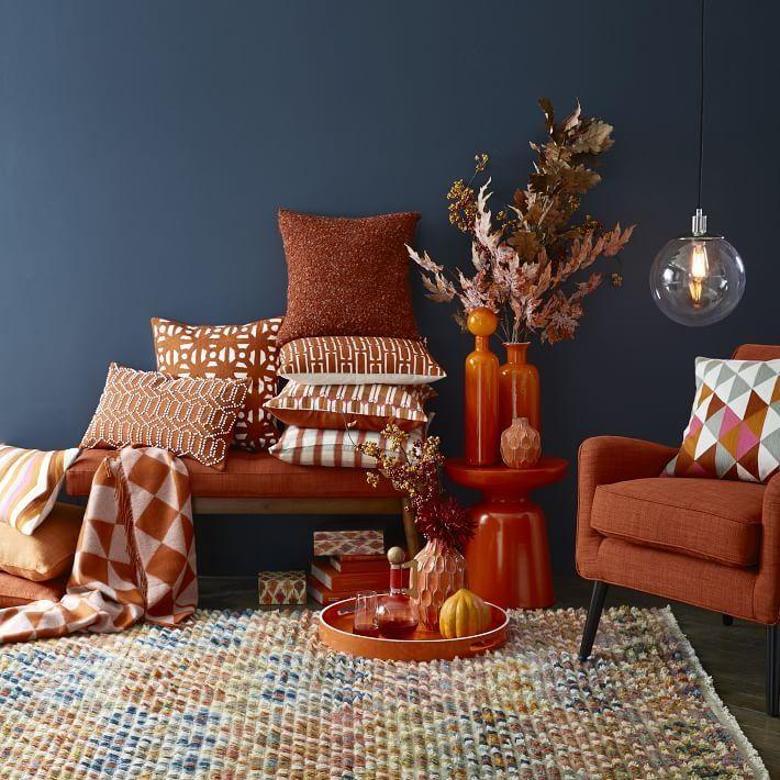 Decoist Architecture And Modern Design Living Room Orange Decor Living Decor Decorating living room fall colors