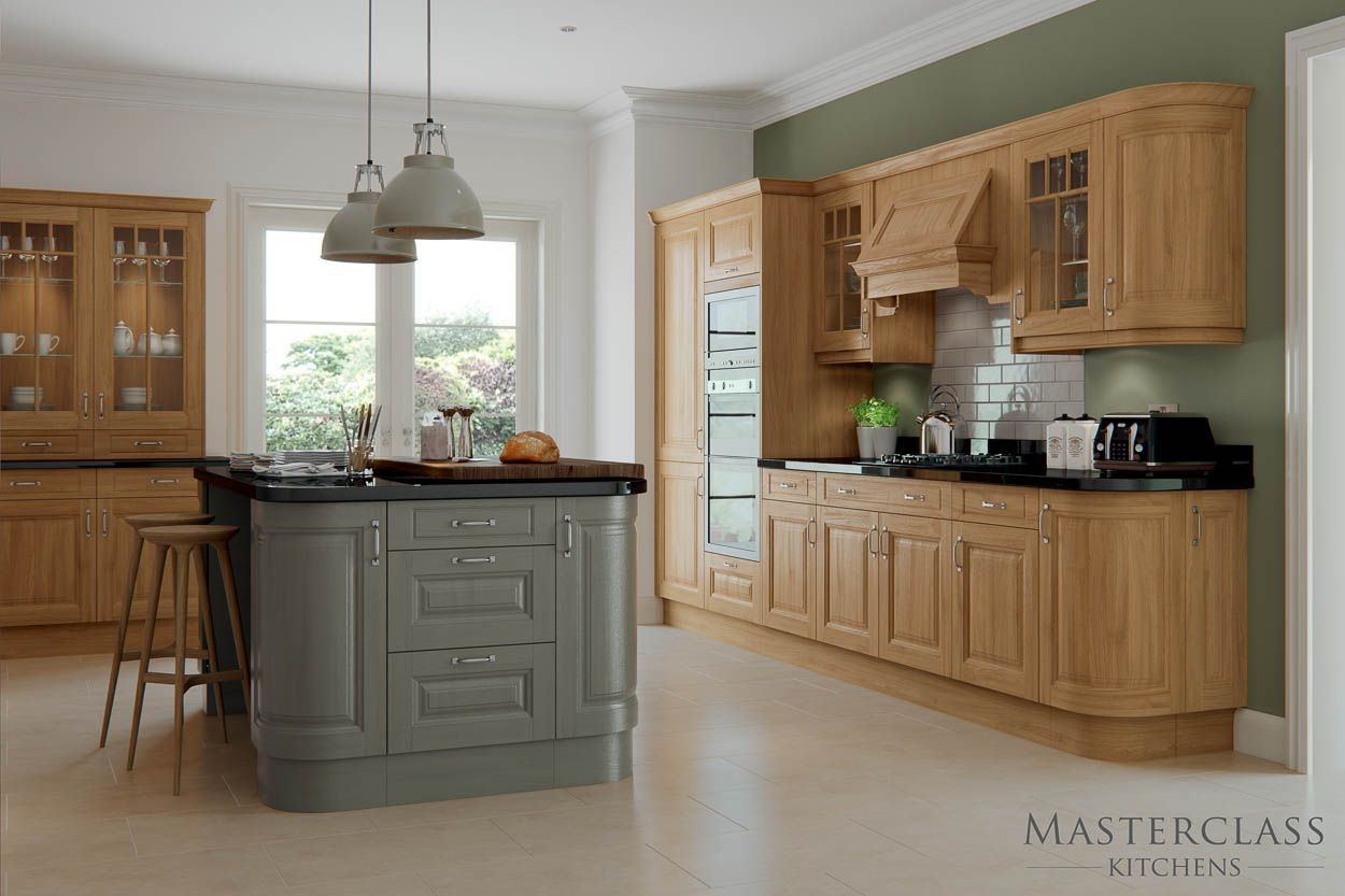 Add a raised contrasting worktop in wood to create a stylish and