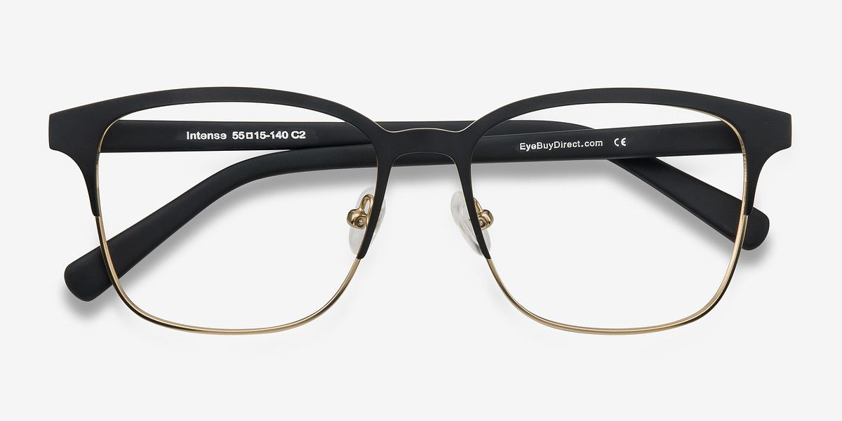 442071a9e94a8 Intense Matte Black Golden Metal Eyeglasses from EyeBuyDirect. Come and  discover these quality glasses at an affordable price. Find your style now  with this ...