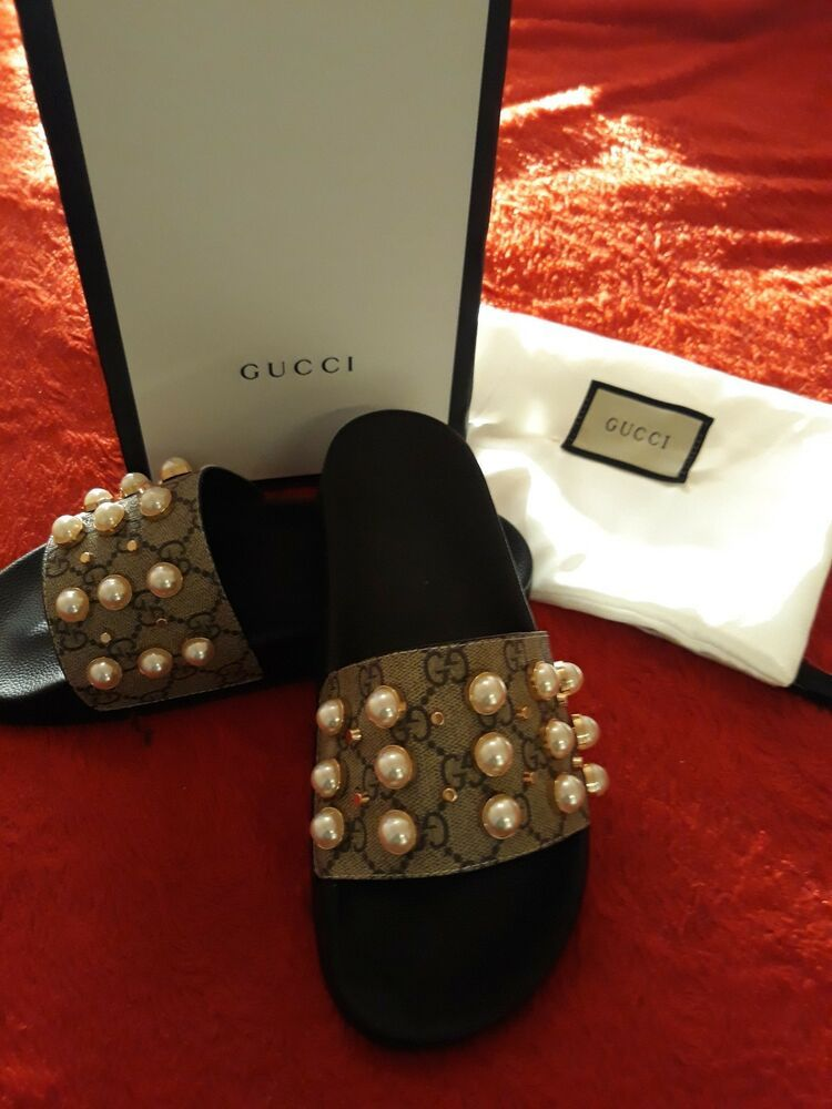 b88242de177b30 Gucci GG Supreme Slide With Pearls Authentic  fashion  clothing  shoes   accessories  womensshoes  sandals (ebay link)