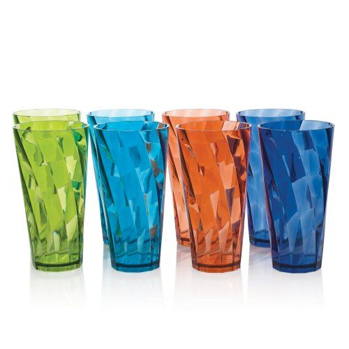 Product FeaturesSet of 8 break-resistant assorted colors plastic cup tumblers.Made in USA and made of break-resistant BPA-free SAN material.Great for patio, poolside, and