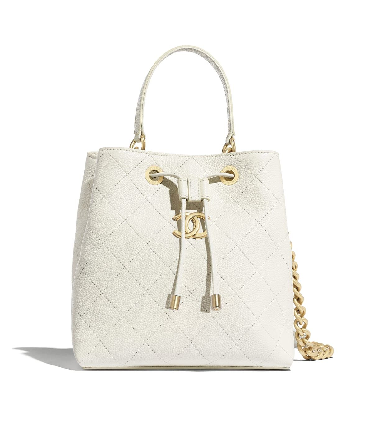 deaf5a9c0df9 Handbags of the Spring-Summer 2019 Pre-Collection CHANEL Fashion collection  : Drawstring Bag, grained calfskin & gold-tone metal, white on the CHANEL  ...