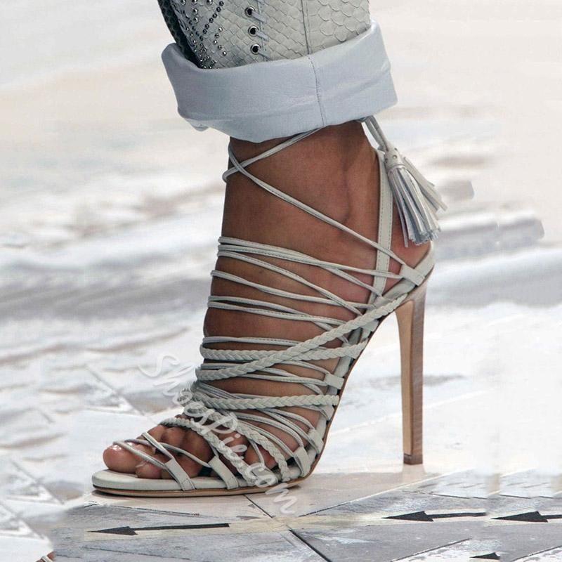 c2a06c331ebc Shoespie - Shoespie Shoespie Solid Color Wrap Dress Sandals - AdoreWe.com