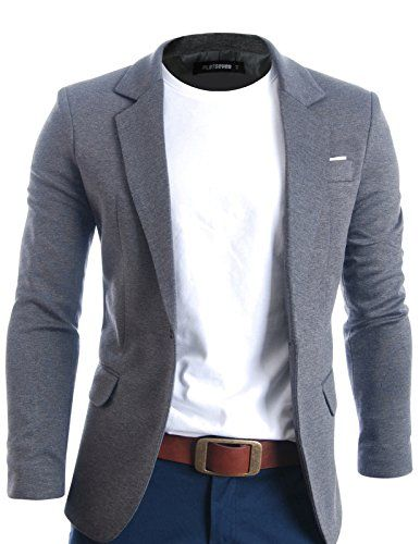 3888752ec4b8ce FLATSEVEN Mens Slim Fit Casual Premium Blazer Jacket (BJ102) Grey, L ...