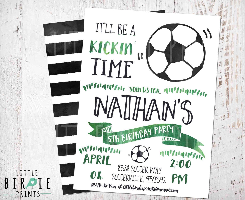 Fantastic Soccer Party Invitation Adornment Invitation Card