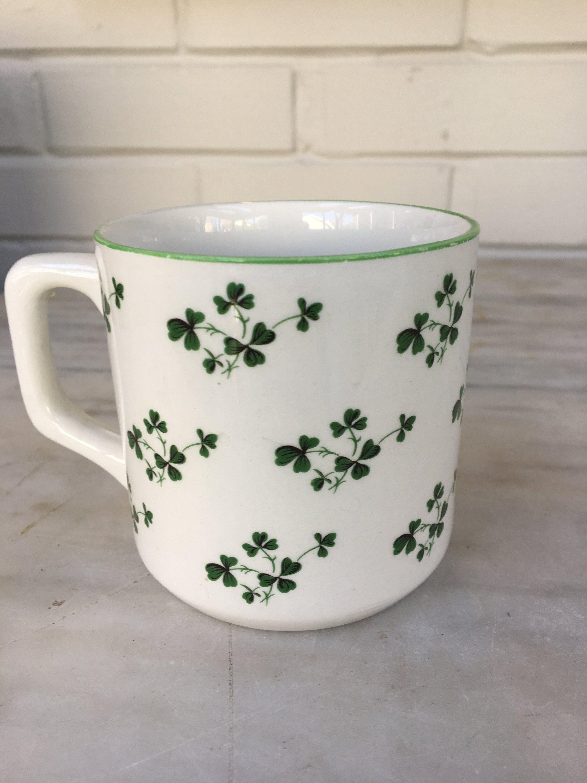 Vintage Carrigaline Pottery Shamrock Mug Cork Ireland Coffee Mug Tea Cup Green Shamrock Irish Kitchen Mug St Patrick S Day By M Mugs Irish Kitchen Shamrock