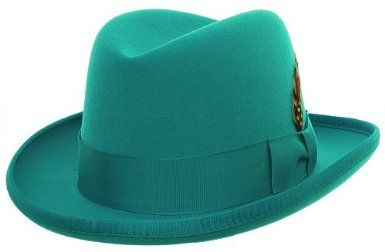 Mens Turquiose Godfather Hat 100% Wool Homburg Dress Hat 4201-size xlarge  only 4852ab095f88