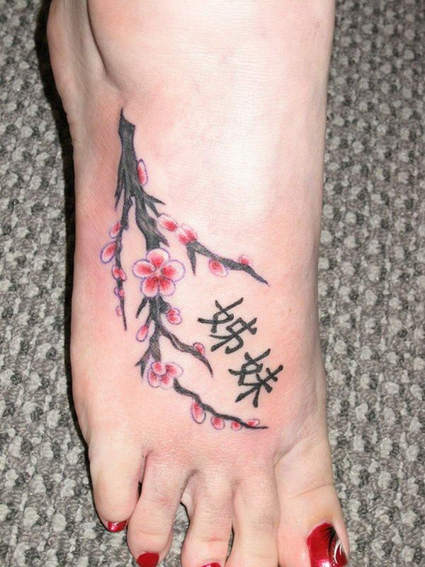 25 Unique And Beautiful Cherry Blossom Tattoo Designs Cute Foot