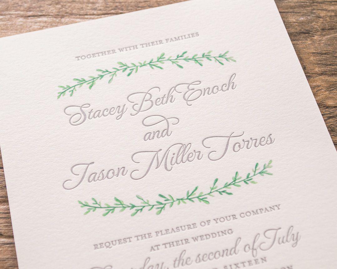 Botanical-Custom Letterpress Wedding Invitations   Garden Wedding ...